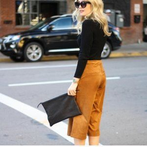 Brown Suede wide legged gaucho cropped